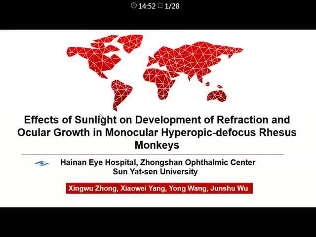 自然光对单眼远视离焦恒河猴屈光发育及眼球生长的影响