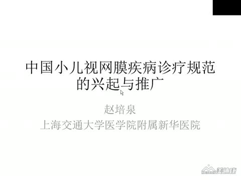 中国小儿视网膜疾病诊疗规范的兴起与推广等