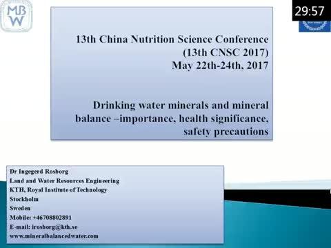 饮用水中矿物质和矿物质平衡