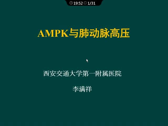 AMPK与肺动脉高压