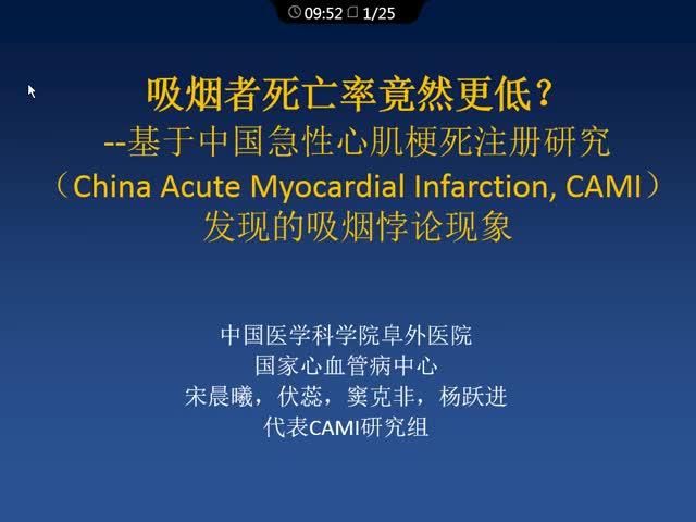 吸烟者住院死亡率竟然更低?–基于中国急性心梗注册研究(CAMI)发现的吸烟悖论现象