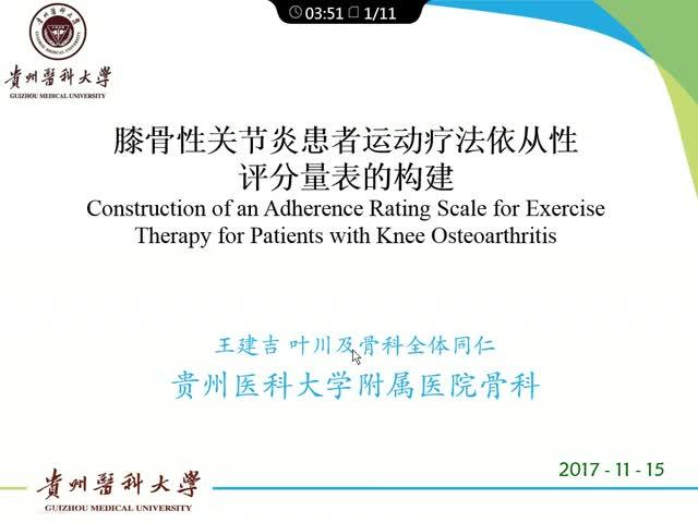 膝骨性关节炎患者运动疗法依从性评分量表的构建