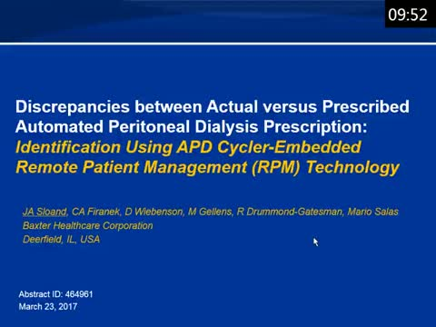 Discrepancies between Actual versus Prescribed Automated Peritoneal Dialysis (APD) Prescription: Identification Using APD Cycler-Embedded Remote Patient Management (RPM) Technology