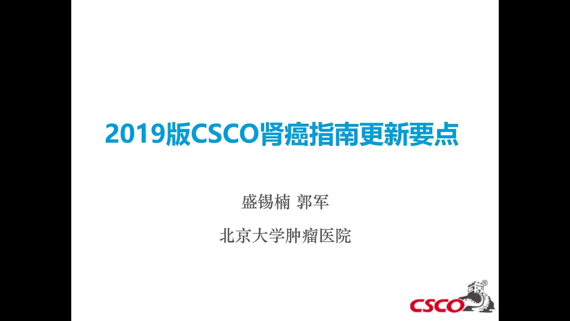 2019CSCO肾癌指南更新要点
