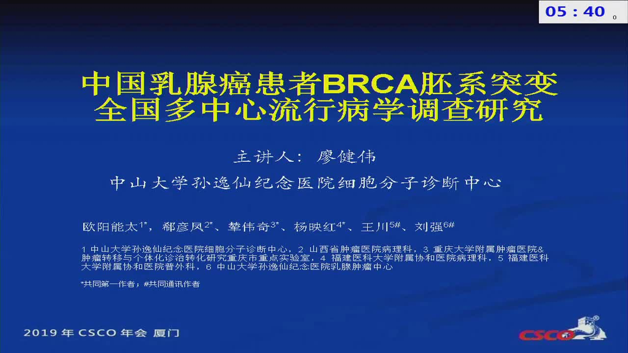 A Nationwide Multicenter Prevalence Study of BRCA1 and BRCA2 Germline Mutations in Chinese Patients with Breast Cancer